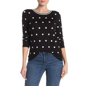 NEW J. Crew Polka Dot Crew Neck Pullover Black S